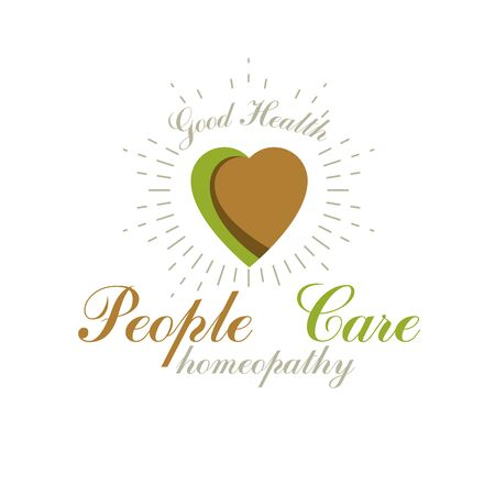 Vector heart shape composed with green leaves. Alternative medicine conceptual symbol can be used as phytotherapy logo in healthcare business. Ilustração