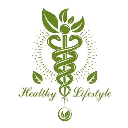 Caduceus vector conceptual emblem created with snakes and green leaves. Wellness and harmony metaphor. Alternative medicine concept, phytotherapy logo. Ilustração
