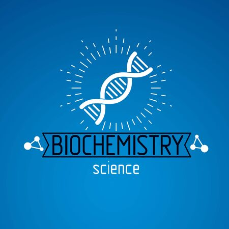 Vector model of human DNA strands. Biochemistry research conceptual abstract logotype can be used as the emblem of scientific organizations. Ilustração