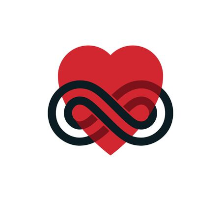 Timeless Love concept, vector symbol created with infinity loop sign and heart.