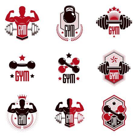 Levantamiento de pesas de gimnasio y logotipos de clubes deportivos de fitness, emblemas vectoriales estilizados retro o conjunto de insignias. Logos