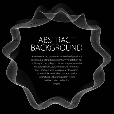 Flowing smooth linear frame in a shape of circle. Vector abstract artistic beautiful background with copy space for text.  Isolated over black background.