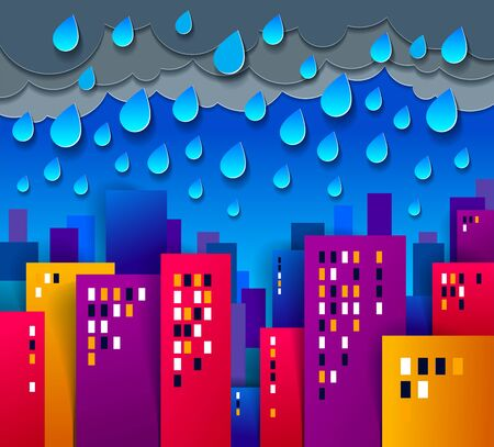 Cityscape under rain cartoon vector illustration in paper cut kids application style, high city buildings real property houses and cloudy rainy sky. Banco de Imagens - 124967334
