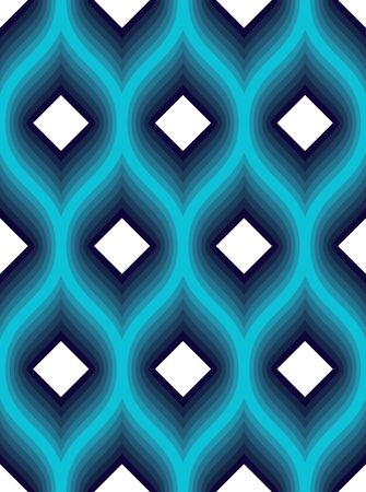 Geometric seamless pattern, abstract tiling background, vector repeat endless wallpaper illustration. Wavy curve shapes trendy repeat motif. Usable for fabric, wallpaper, wrapping, web and print. Ilustração