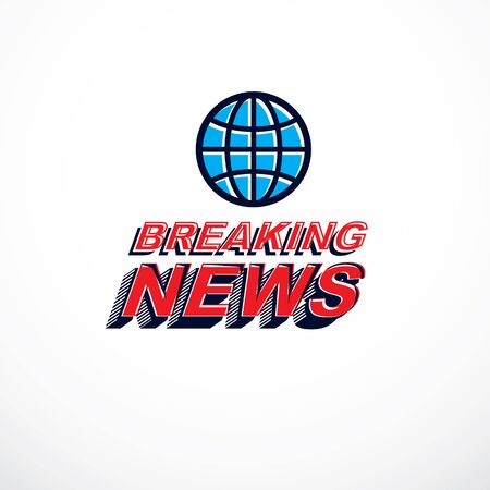 Breaking news concept, vector globe illustration. Journalism concept. 일러스트