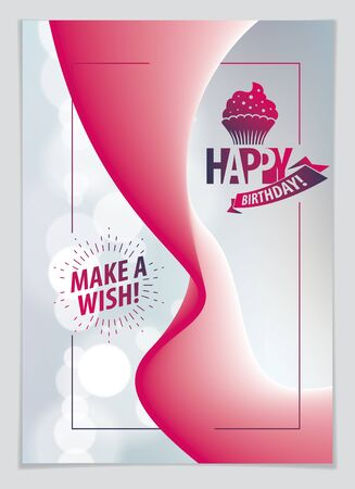 Birthday beautiful greeting card vector design. Includes lettering composition and balloons combined with wavy fluid colorful shape abstract background. A4 format with CMYK colors acceptable for print.