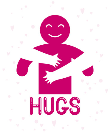 Hugs with loving hands of beloved person, lover woman hugging his man and shares love, vector icon logo or illustration in simplistic symbolic style. Illustration