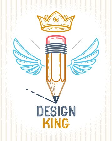 Pencil with wings and crown, vector simple trendy logo or icon for designer or studio, creative king, royal design, linear style.