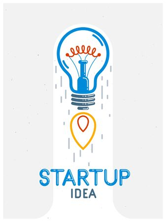 Idea light bulb launching like a rocket vector linear logo or icon, creative idea startup, science invention or research lightbulb, new business start.