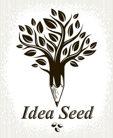 Beautiful tree with pencil combined into a symbol, Idea seed concept vector classic style logo or icon. Strong thoughts virus idea allegory.