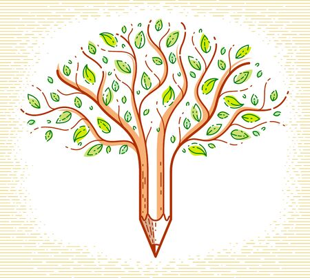 Beautiful tree with pencil combined into a symbol, creativity and ideas concept vector linear style logo or icon. Art and design conceptual allegory.