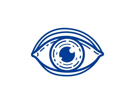 Eye linear vector design element for logo or icon, all seeing eye of god or medical oculist symbol. Stock Vector - 124967595