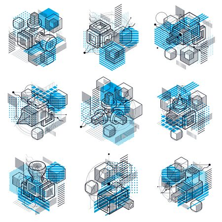 Isometric abstractions with lines and different elements, vector abstract backgrounds. Compositions of cubes, hexagons, squares, rectangles and different abstract elements. Vector set. 일러스트