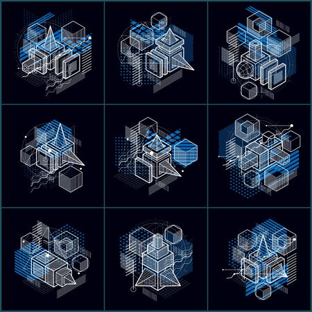 3d abstract vector isometric backgrounds. Layouts of cubes, hexagons, squares, rectangles and different abstract elements. Vector collection. 일러스트