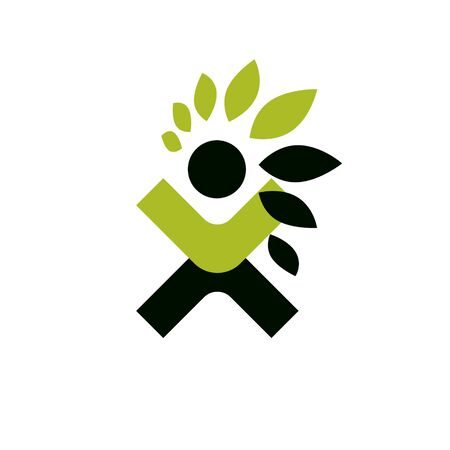 Vector illustration of happy abstract human with reaching up. Go green idea creative logo. Healthy lifestyle metaphor. Vegetarian theme icon.
