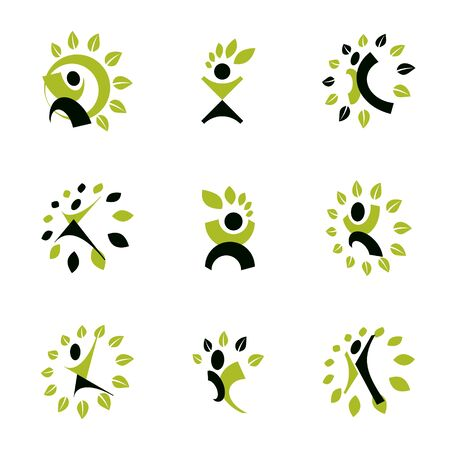 Set of vector illustrations of excited abstract man with arms reaching up. Alternative medicine concept, phytotherapy logo.