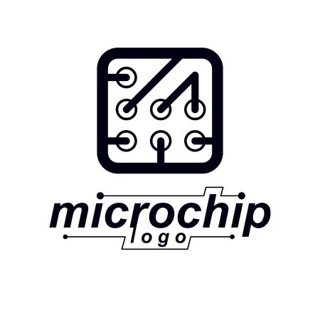 Vector technology cpu design with square microprocessor scheme. Computer circuit board, digital element. Technology microchip logo. Иллюстрация