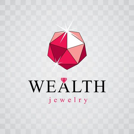 Vector elegant sparkling gem. Luxury diamond sign emblem, logotype. Brilliant jewelry illustration.