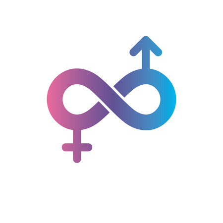 Infinite Love concept, vector symbol created with infinity sign and male Mars an female Venus signs. Relationship creative idea. Illustration
