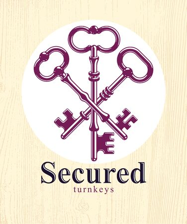 Crossed keys, vintage antique turnkeys vector logo or emblem, protected secret, electronic data protection, keys to heaven, hotel label, keep secret.
