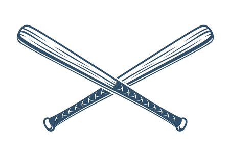 Baseballschläger kreuzten Vektorlogo oder Zeichen, Thema im Gangster-Stil. Logo