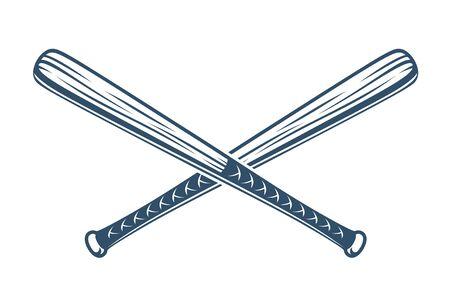 Los bates de béisbol cruzaron el logotipo o el signo del vector, tema del estilo del gángster. Logos