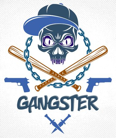 Gang brutal criminal emblem or logo with aggressive skull baseball bats and other weapons and design elements, vector anarchy crime terror retro style, ghetto revolutionary. Illustration