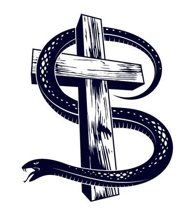 Serpent on a Cross vintage tattoo, snake wraps around Christian cross, God and Devil allegory, the struggle between good and evil, symbolic vector illustration logo or emblem. Illustration