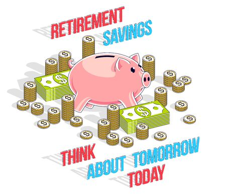 Retirement savings concept, cute Piggy Bank with cash money dollar stack and coins isolated over white background. Isometric vector business and finance illustration, 3d thin line design.