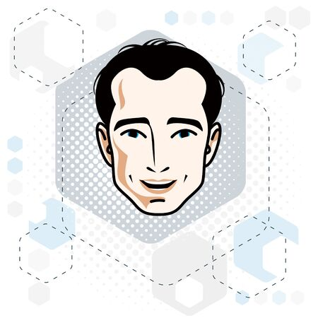 Caucasian man face expressing positive emotions, vector human head illustration. Ilustração