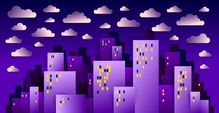 City houses buildings in the night with clouds in the sky paper cut cartoon kids game style vector illustration, modern minimal design of cute cityscape, urban life, midnight time.