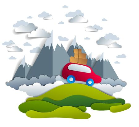 Car travel and tourism, red minivan with luggage riding off road with mountain peaks in background, clouds in the sky, paper cut vector illustration of auto in scenic nature landscape. Illustration