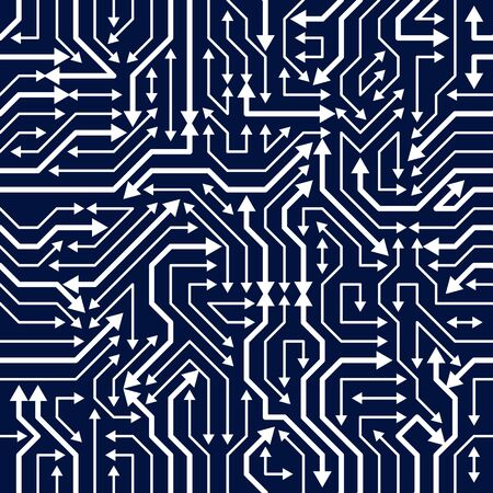 Circuit board seamless pattern, vector background. Microchip technology electronics wallpaper repeat design. Иллюстрация