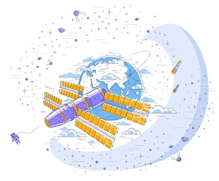 Space station flying orbital spaceflight around earth, spacecraft spaceship iss with solar panels, artificial satellite, surrounded by stars and other elements. Thin line 3d vector illustration. Çizim