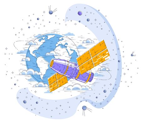 Space station orbiting around earth, spaceflight, spacecraft spaceship iss with solar panels, artificial satellite, surrounded by stars and other elements. Thin line 3d vector illustration. Ilustração