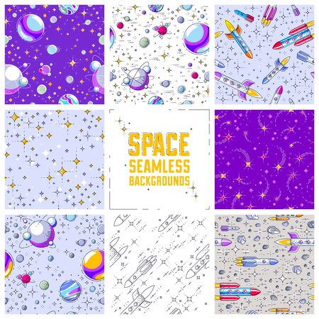 Set of seamless space backgrounds with rockets, planets, asteroids, comets, meteors and stars, undiscovered deep cosmos fantastic textiles fabric for children, endless tiling pattern, vector. Ilustração