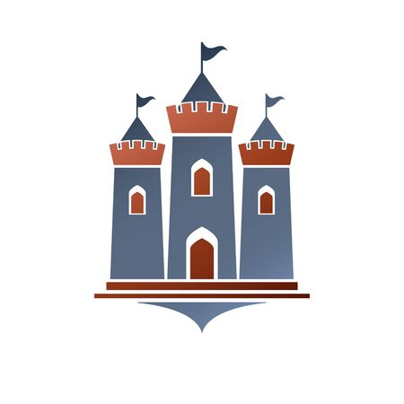 Old fortress decorative isolated vector illustration.  Ancient Castle logo in old style on white background. Иллюстрация