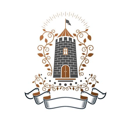 Ancient Castle emblem. Heraldic Coat of Arms decorative logo isolated vector illustration. Ornate logotype in old style on white background. Иллюстрация