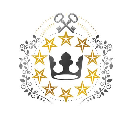 Imperial Crown, Military Star emblem. Heraldic Coat of Arms, vintage vector logo. Retro logotype isolated on white background.