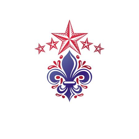Retro vintage Insignia created with lily flower and pentagonal stars. Vector Victorian design element, quality control theme. 向量圖像