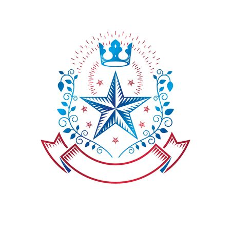 Military Star emblem, victory award symbol created using imperial crown and floral ornament.  Heraldic Coat of Arms decorative logo isolated vector illustration. 向量圖像