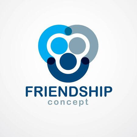 Teamwork and friendship concept created with simple geometric elements as a people crew. Vector icon or logo. Unity and collaboration idea, dream team of business people blue design.