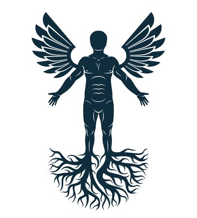 Vector art illustration of human being made using tree roots and bird wings. Eco friendly living, human and nature harmony concept.