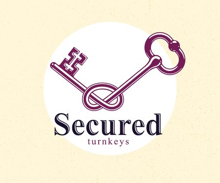 Knotted key allegorical symbol of keep secret, vintage antique turnkey in a knot, defense and security concept, password personal data protection, vector logo. Ilustração