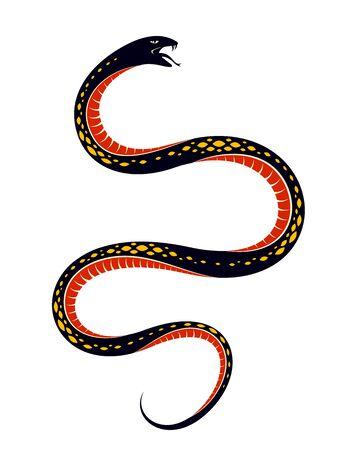 Venomous snake vintage tattoo, vector drawing of aggressive predator reptile, deadly poisoned serpent symbol, vintage style illustration.