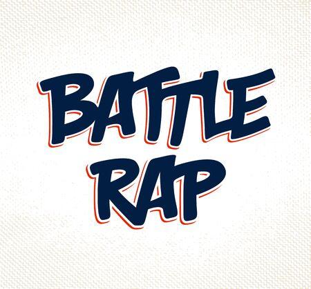 Rap battle vector typing, music theme logo.