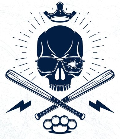 Brutal gangster emblem or logo with aggressive skull baseball bats design elements, vector anarchy crime or terrorism retro style, ghetto revolutionary. Ilustração