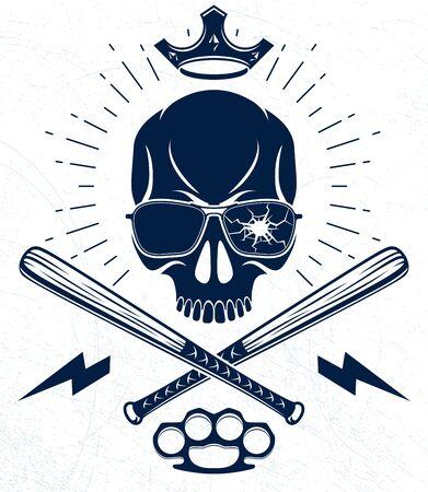 Brutal gangster emblem or logo with aggressive skull baseball bats design elements, vector anarchy crime or terrorism retro style, ghetto revolutionary. Illustration
