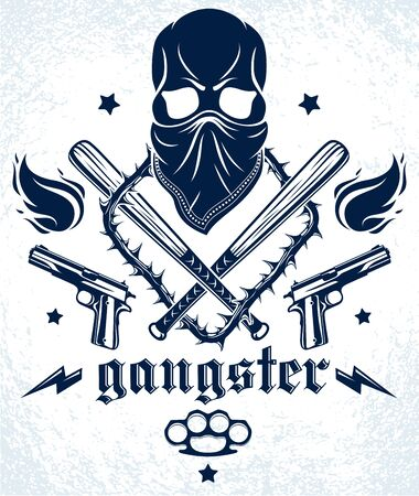 Gang brutal criminal emblem or logo with aggressive skull baseball bats and other weapons and design elements, vector anarchy crime terror retro style, ghetto revolutionary. Banco de Imagens - 124975857