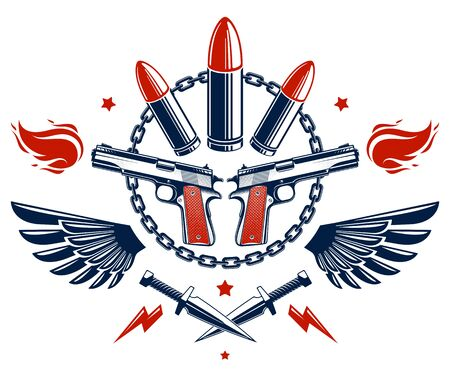 Revolution and War vector emblem with bullets and guns, logo or tattoo with lots of different design elements, riot partisan warrior, criminal and anarchist style, social tension theme. Imagens - 124975858